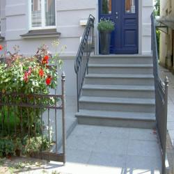 Granit Bordstein Griys hellgrau gesägt und geflammt 10 x 25 cm  frei Längen
