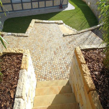 Sandstein Blockstufen Mapula rot 15 x 40 cm 100 cm lang