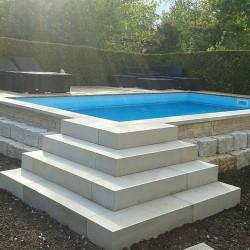 80 cm lang Granit Blockstufen Griys grau 18 x 40 cm geflammt