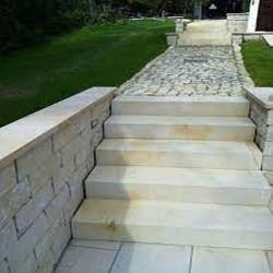 18 x 35 CM Basalt Blockstufen Schwarz geflammt