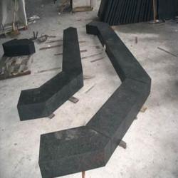 Granit Blockstufen Griys hellgrau geflammt 20 x 45 cm 200 cm lang