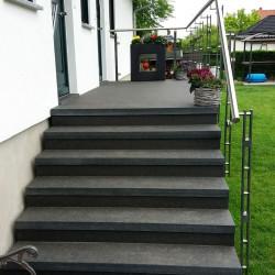 Granit Mauersteine Raudona Rot 40 cm hoch gespalten Längen von 60 - 130 cm