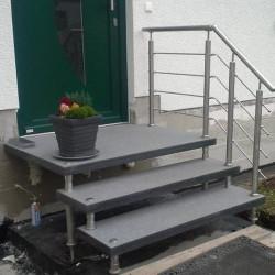 Granit Palisaden Griys Hellgrau 8 x 20 cm200 cm lang
