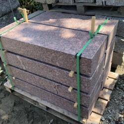 Sandstein Mauerabdeckplatten Mapula rot 3 cm stark 26 cm breit