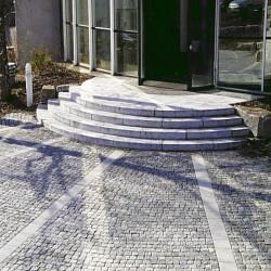 Granit Pflaster Steine Rot Schwarz Gespalten