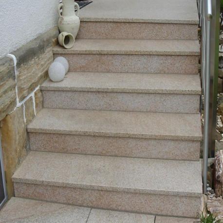 Granit Sicht und Windschutz Element Griys hellgrau gesägt und Geflammt