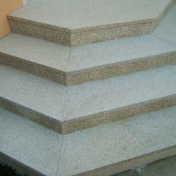Granit Sicht und Windschutz Element Griys hellgrau gesägt und Geflammt mit Guckloch