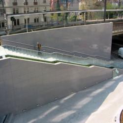 Granit Brücke Griys grau 300 x 100 x 15 cm gesägt und geflammt Teichbrücke